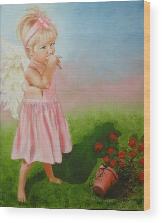 Angel Wood Print featuring the painting Angel Thumbs by Joni McPherson