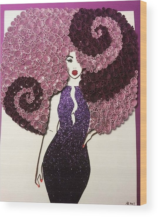 Wood Print featuring the mixed media Angelina by Quillqueen Andrea Stevens