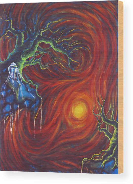 Tree Paintings Wood Print featuring the painting Anxiety by Jennifer McDuffie