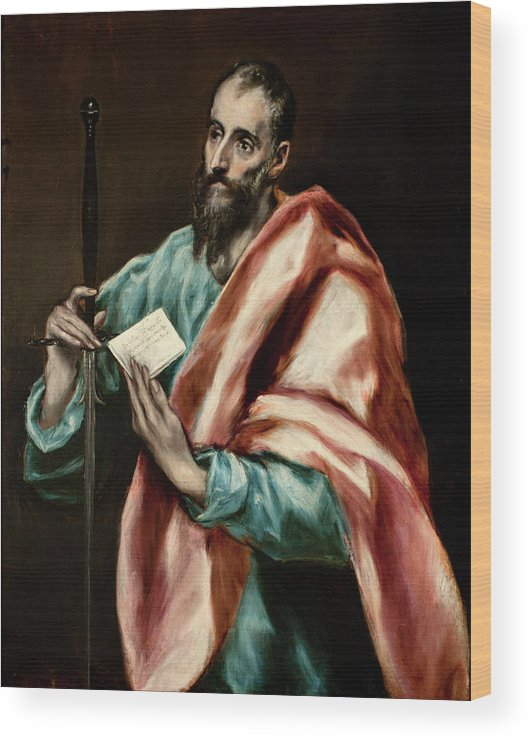 Apostle Wood Print featuring the painting Apostle Saint Paul by El Greco