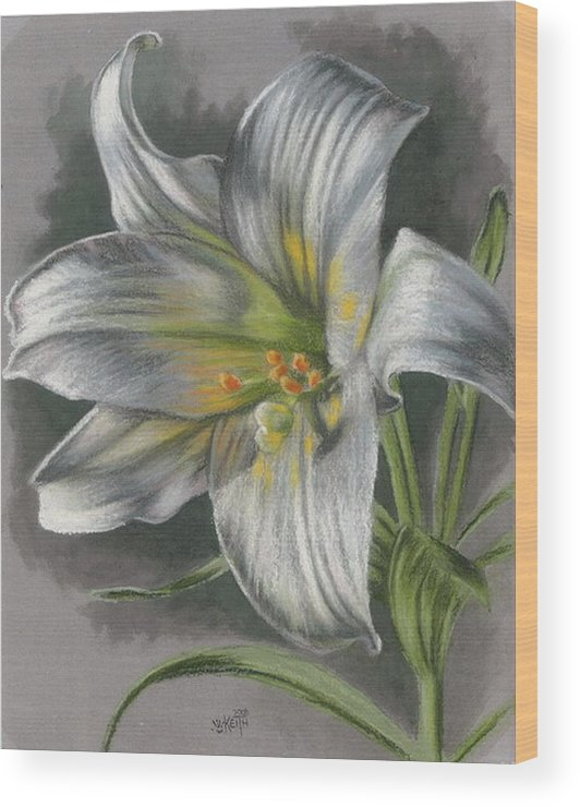Easter Lily Wood Print featuring the mixed media Arise by Barbara Keith