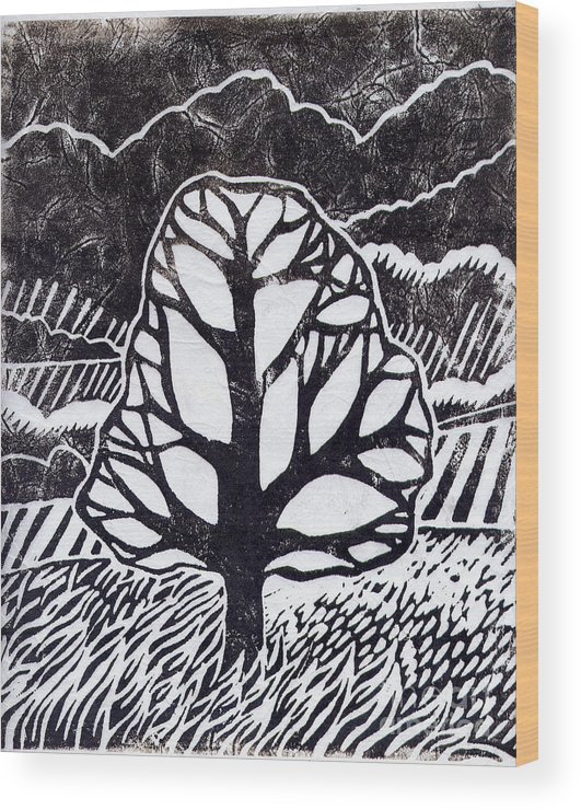 Tree Wood Print featuring the painting Ash Tree by Becca Thorne