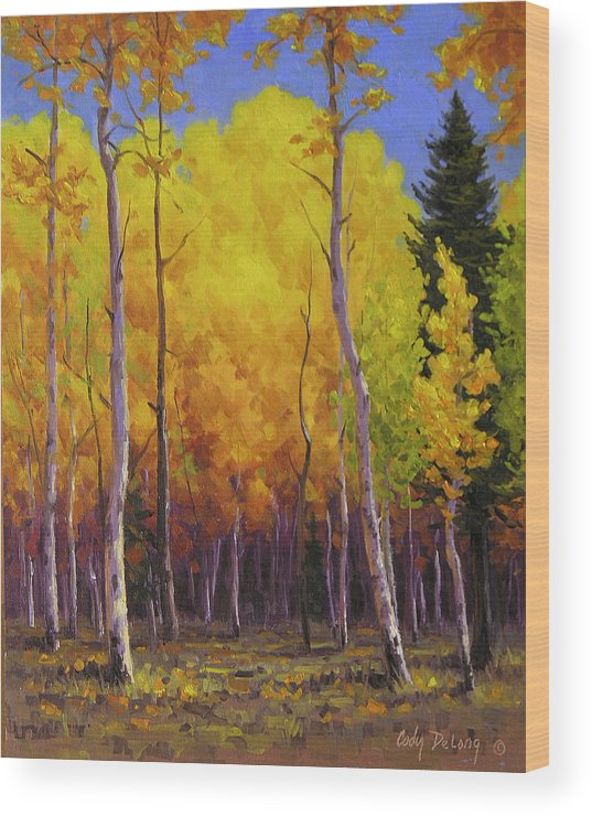 Landscape Wood Print featuring the painting Aspen Glow by Cody DeLong