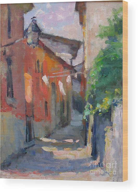 Plein-air Wood Print featuring the painting At The End Of The Alley by Jerry Fresia