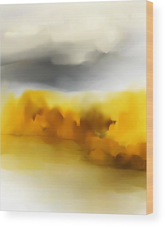 Landscape Wood Print featuring the digital art Autumn Along The River by David Lane