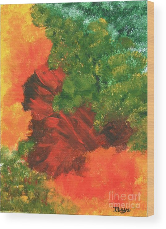 Abstract Wood Print featuring the painting Autumn Equinox by Itaya Lightbourne