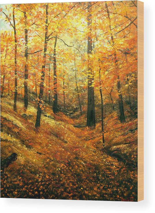 A Painting A Day Wood Print featuring the painting Autumns Hidden Sanctuary by Connie Tom