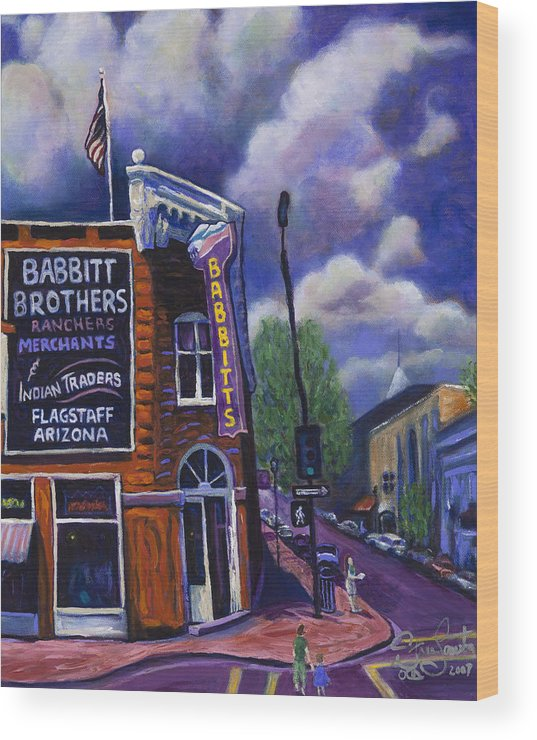 Historic Wood Print featuring the painting Babbitt Bldg. by Steve Lawton