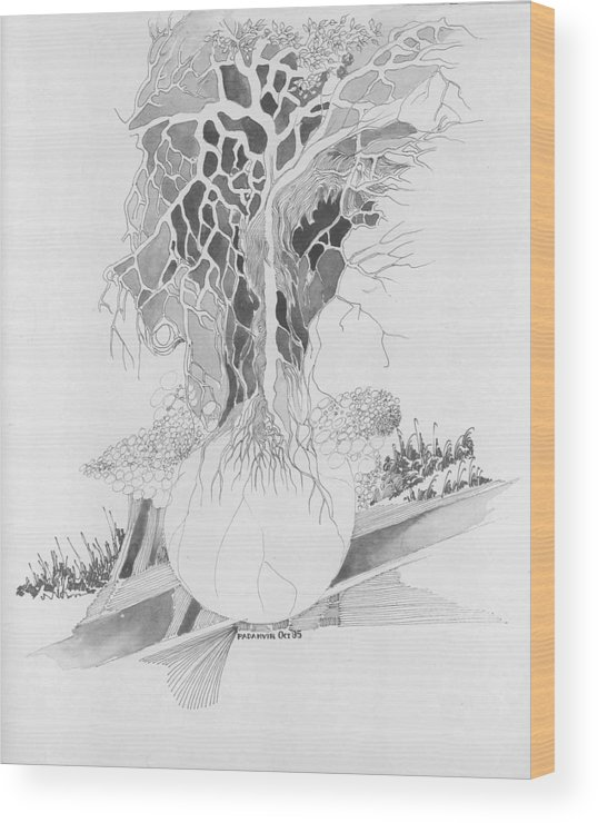 Surreal Wood Print featuring the drawing Ball And Tree by Padamvir Singh