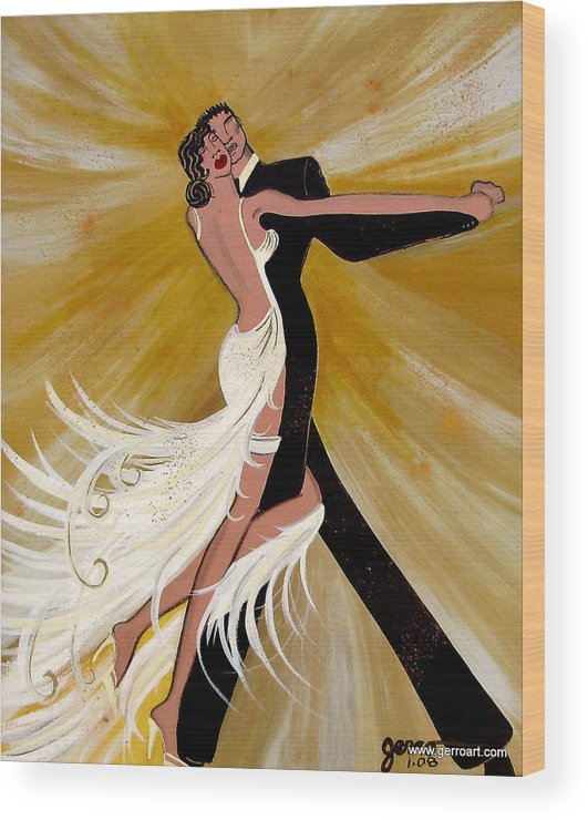 Dancers Artwork Wood Print featuring the painting Ballroom Dance by Helen Gerro