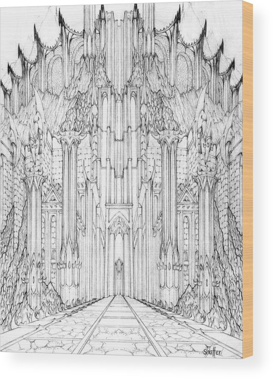 Barad-dur Wood Print featuring the drawing Barad-dur Gate Study by Curtiss Shaffer