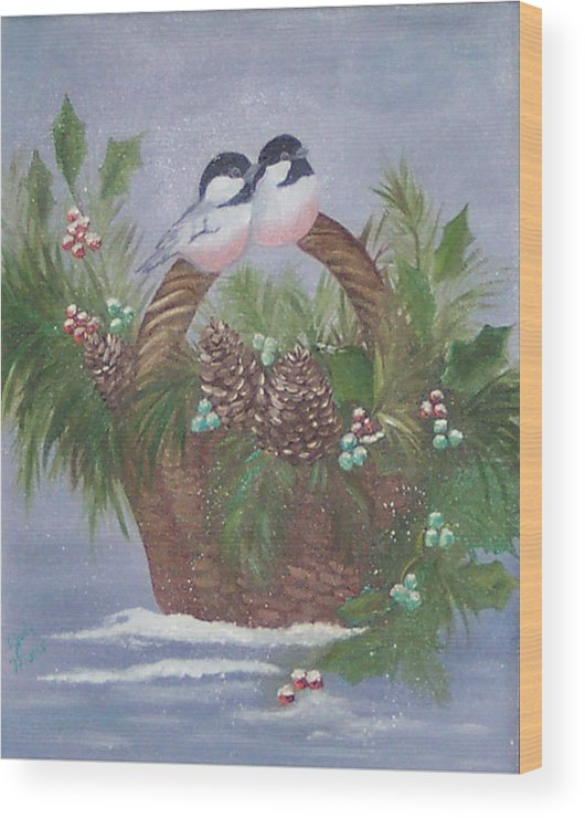 Nature Wood Print featuring the painting Basket Of Pine by Judy Moses