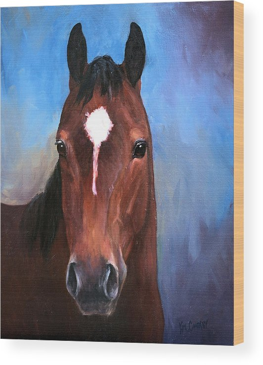 Horse Wood Print featuring the painting Beau Quarter Horse Portrait by Kim Corpany