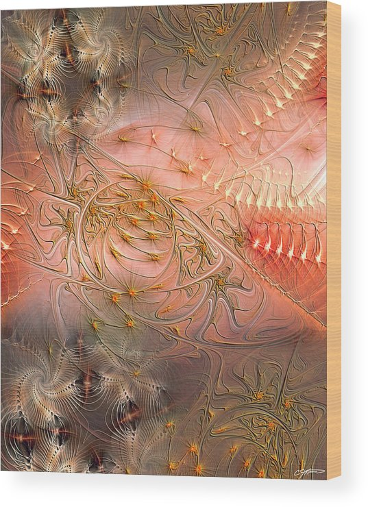 Abstract Wood Print featuring the digital art Beyond Solipsism by Casey Kotas