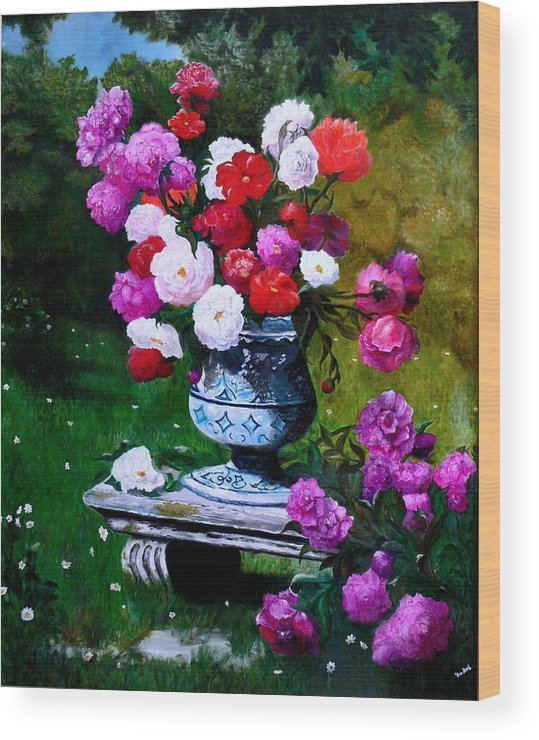 Stilllife Wood Print featuring the painting Big Vase With Peonies by Helmut Rottler