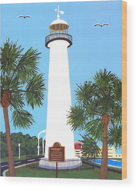 Lighthouse Paintings Wood Print featuring the painting Biloxi Lighthouse by Frederic Kohli