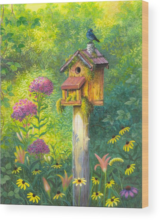 Garden Wood Print featuring the painting Bird House And Bluebird by Elaine Bawden