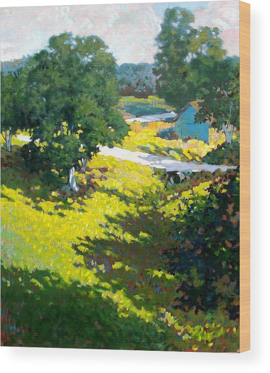 Landscape Wood Print featuring the painting Birds Eye View by Kevin Lawrence Leveque