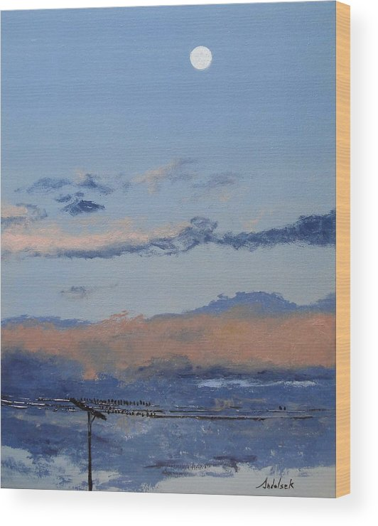 Landscape Wood Print featuring the painting Birds On A Wire by Barbara Andolsek