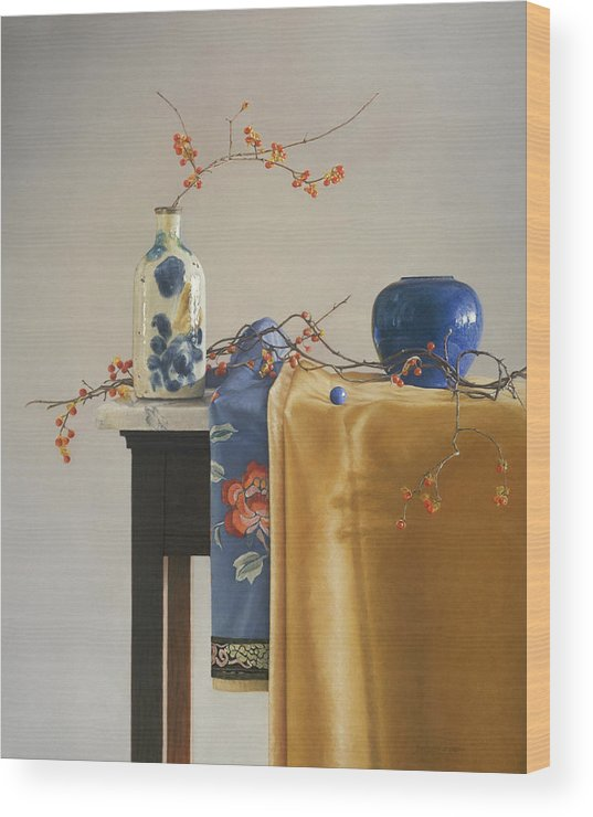 Still Life Wood Print featuring the painting Bittersweet With Blue by Barbara Groff