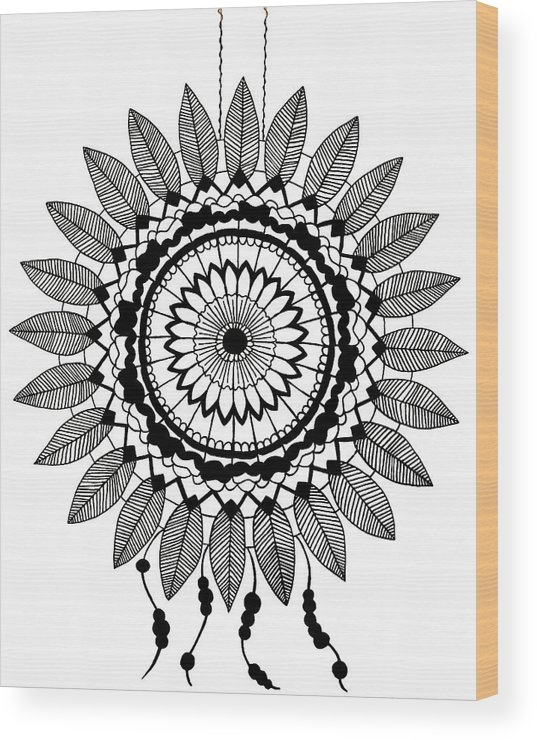 Drawing Wood Print featuring the drawing Black And White Dreamcatcher by Elizabeth Davis