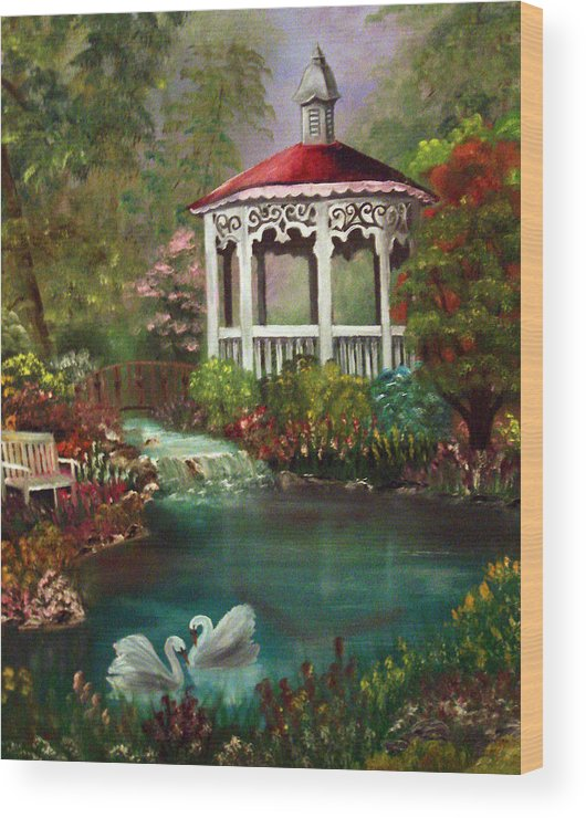 Gazebo Wood Print featuring the painting Blissful Day by Darlene Green