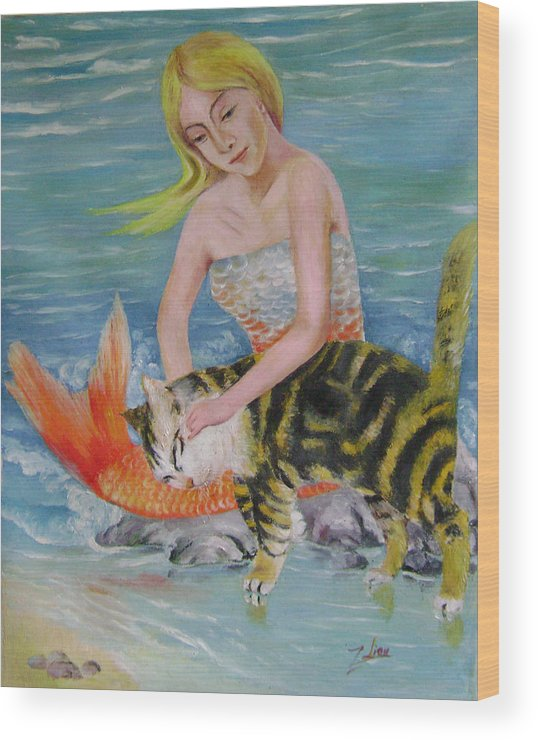 Surrealist Wood Print featuring the painting Blond Mermaid And Cat by Lian Zhen