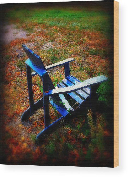 Chair Wood Print featuring the photograph Blue Chair by Perry Webster