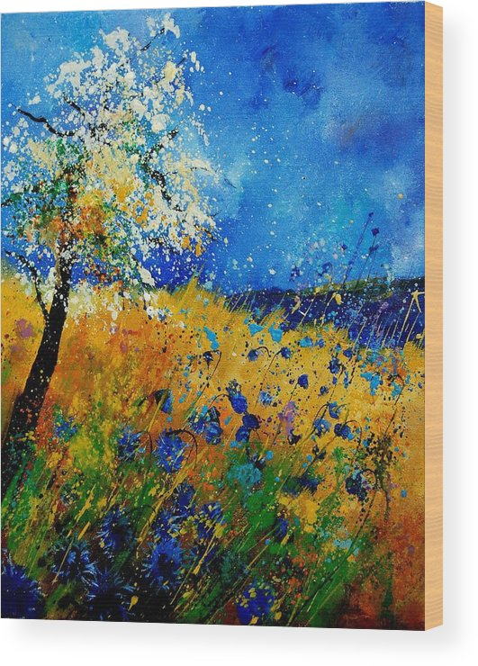 Poppies Wood Print featuring the painting Blue Cornflowers 450108 by Pol Ledent