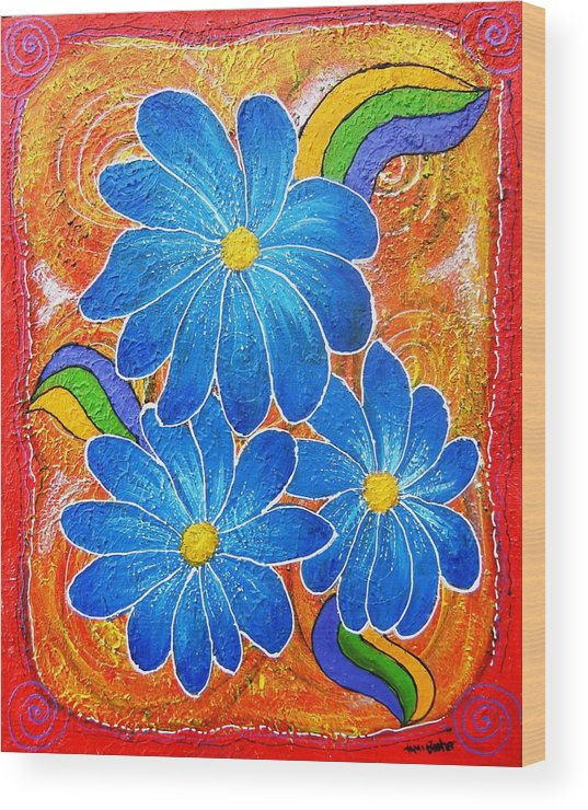 Wood Print featuring the painting Blue Daisies Gone Wild by Tami Booher
