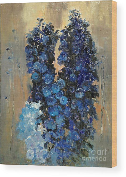 Floral Wood Print featuring the painting Blue Delphiniums For Nancy by Glenn Secrest