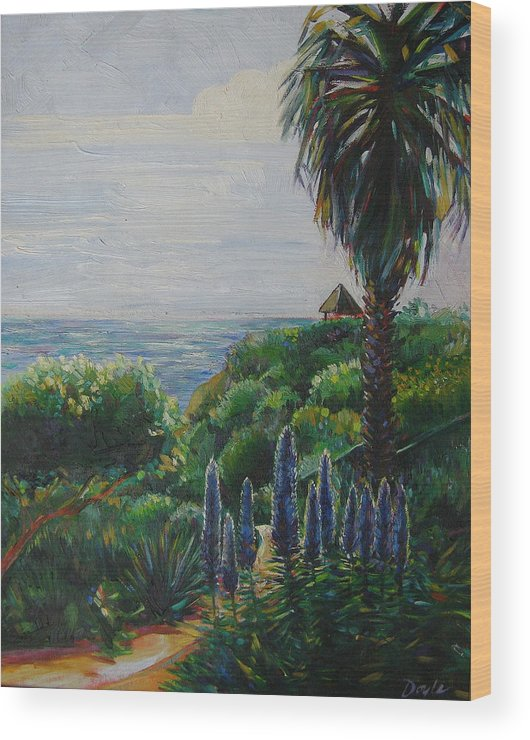 Beach Wood Print featuring the painting Blue Flowers by Karen Doyle