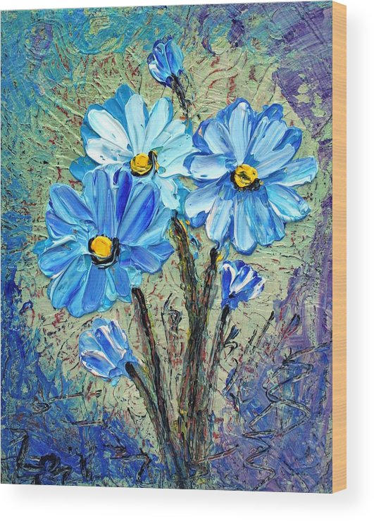 Flowers Wood Print featuring the painting Blue Flowers by Luiza Vizoli