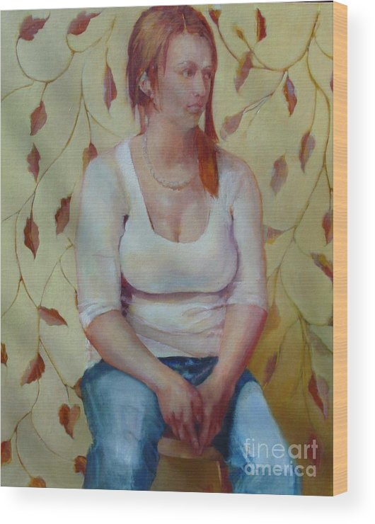 Contemporary Female Portrait Wood Print featuring the painting Blue Jeans Girl       Copyrighted by Kathleen Hoekstra