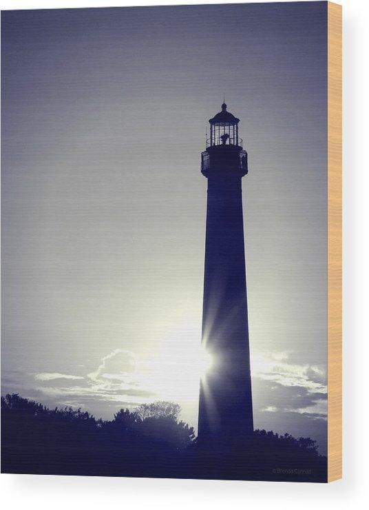 Blue Lighthouse Silhouette Wood Print featuring the photograph Blue Lighthouse Silhouette by Brenda Conrad