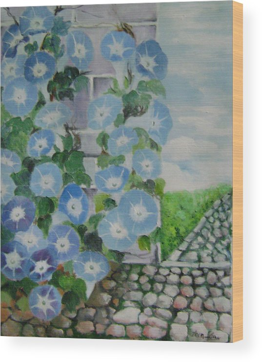 Floral Wood Print featuring the painting Blue Wall by Lian Zhen