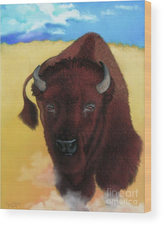 Buffalo Wood Print featuring the pastel Born Of Thunder by Tracy L Teeter