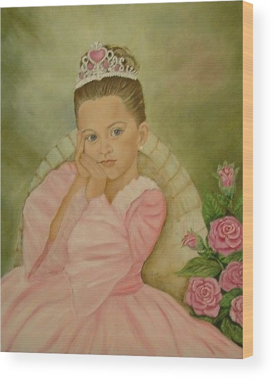 Princess Wood Print featuring the painting Brianna - The Princess by Tresa Crain