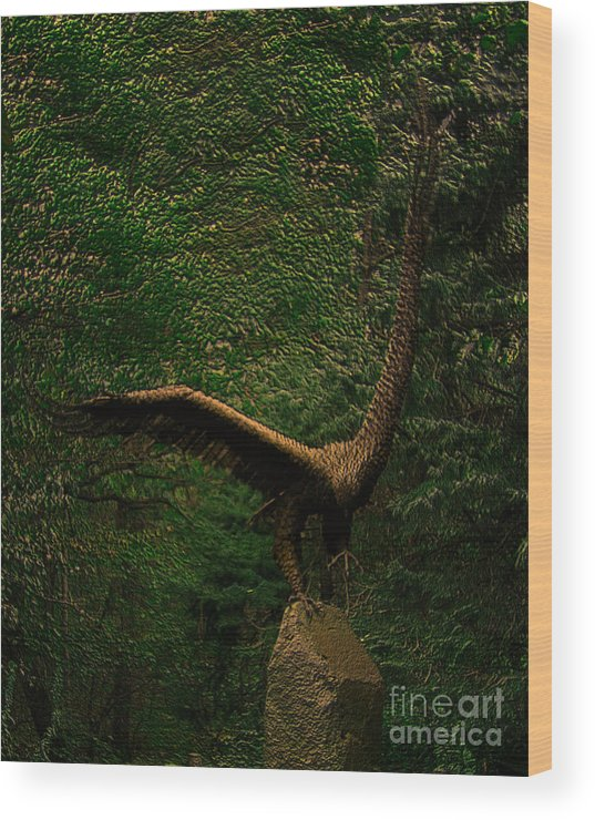 Statue Wood Print featuring the digital art Bronze Eagle by Donna Brown