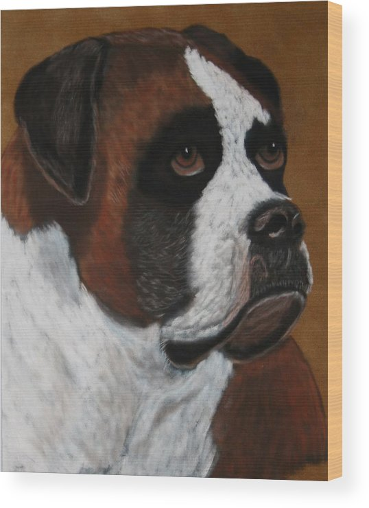 Boxer Paintings Wood Print featuring the painting Buddy by Lori DeBruijn