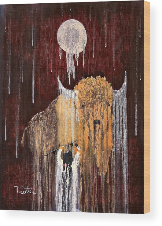 Native Art Wood Print featuring the painting Buffalo Spirit by Patrick Trotter