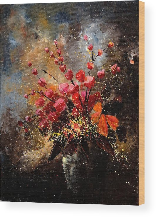 Poppies Wood Print featuring the painting Bunch 1207 by Pol Ledent