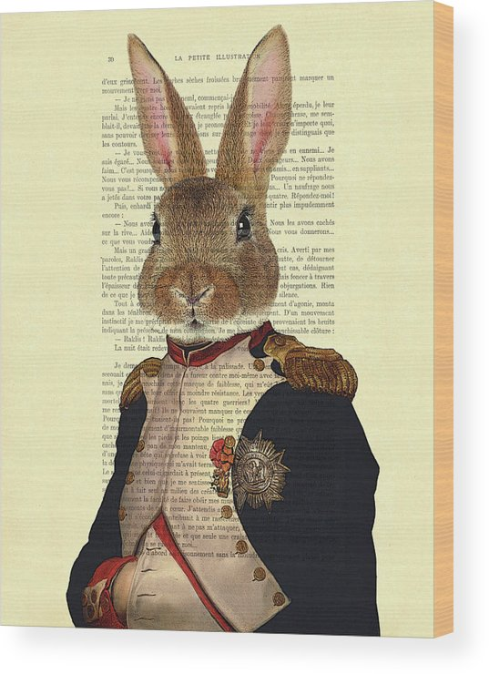 Bunny Wood Print featuring the digital art Bunny Portrait Illustration by Madame Memento