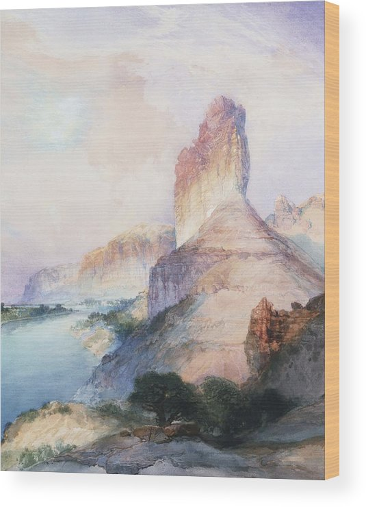 Thomas Moran Wood Print featuring the painting Butte Green River Wyoming by Thomas Moran