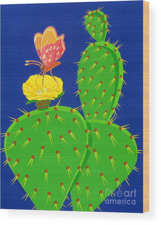 Nature Wood Print featuring the drawing Cactus And Butterfly by Lucyna A M Green
