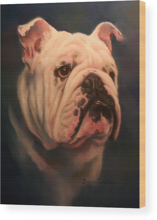 English Bull Dog Wood Print featuring the painting Caesar by Diane Caudle