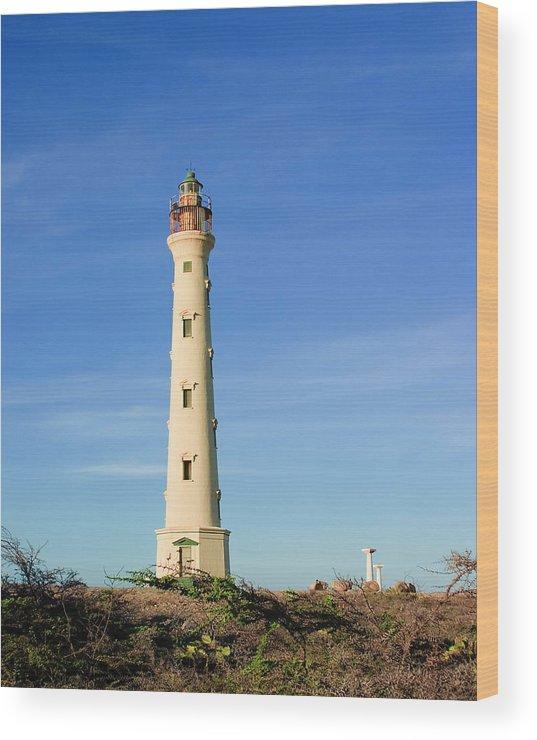 Aruba Wood Print featuring the photograph California Lighthouse Aruba by Michael Clubb