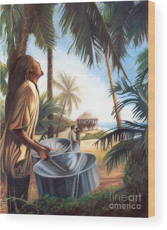 Tropical Wood Print featuring the painting Call To Paradise by Mike Massengale