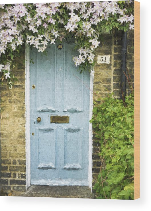 England Wood Print featuring the photograph Cambridge Doorway 54 Painterly Effect by Carol Leigh