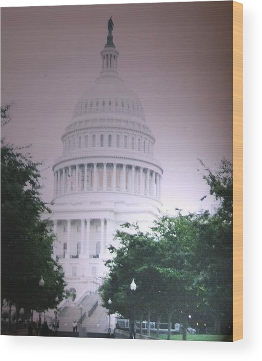 Capitol Wood Print featuring the photograph Capitol In Pink by Pharris Art